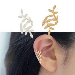 232455 - <SL041-BD07> [Same day shipping] [Silver] Leaf rolling ear cuff