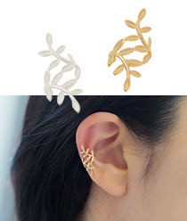 232455 - <SL041-BD07> [Same day shipping] [Silver] Leaf rolling ear cuff
