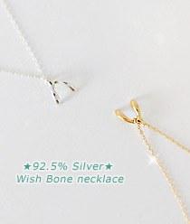 232969 - <SL091-BD08> [Silver] Wishbone necklace