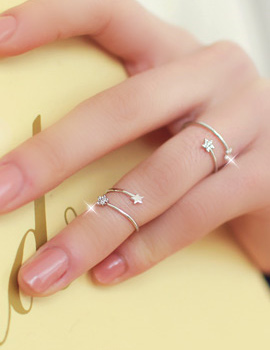 233060 - <RI119-DM06> [2Piece 1set] free star double ring