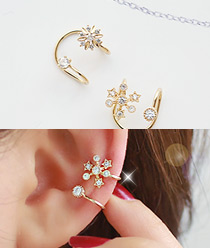 233126 - <EC048-S> Flower Ann snow snow ear cuff