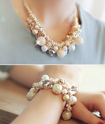 233149 - <JS025-IH04> [necklace + bracelet] glam point set