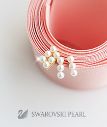233336 - <SL275-IE03> [Swarovski pearl] [Silver] Swarovski pearl line earrings