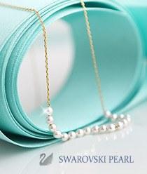 233337 - <SL283-IE03> [Swarovski pearl] [Silver] Swarovski pearl line necklace
