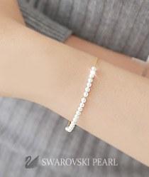 233338 - <SL273-IE03> [Swarovski pearl] [Silver] Swarovski pearl line bracelet