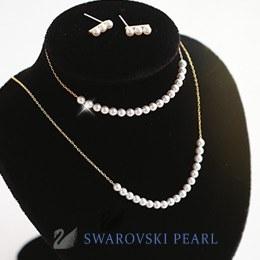 233339 - <SL279-IE03> [3bell set] [Swarovski pearl] [Silver] Swarovski pearl line set