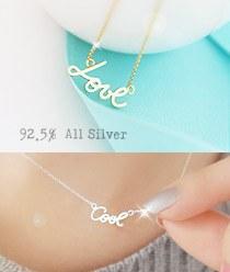 233340 - <SL094-BD07> [Silver] Lettering necklace