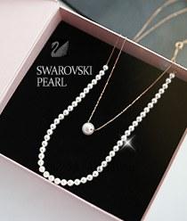 233381 - <SL284-BD03> [Silver] Elsa Swarovski pearl necklace