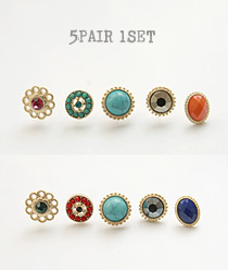 233445 - <ER374-CH14/15> [5 pairs 1set] funny mall earrings
