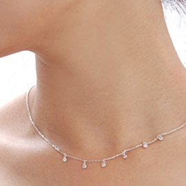 13831 - <SL154-S> [Immediate out of stock] [Silver] thumb simple cubic necklace