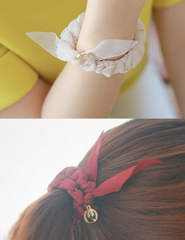 233479 - <HA011-EC05> [hairband bracelet for both] twist chiffon ponytail & bracelet