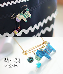 233619 - <NE109-BB08> [brooch for both] baby pony necklace