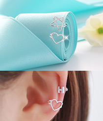 236391 - <SL434-BD07> [Silver] star & heart line ear cuff