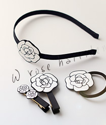 236488 - <HA248-S> [Out of stock] [band, pin, ponytail] white rose Hair Item