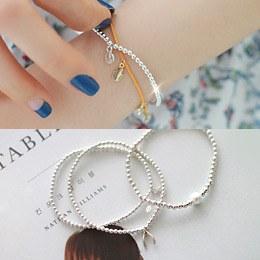236655 - <SL440-HG10> [Silver] Slim Silver ball bracelet