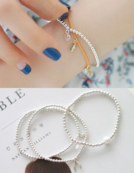 236655 - <SL440-S> [Immediate out of stock] [Silver] slim Silver ball bracelet