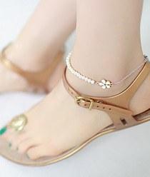 236716 - <BC215-HG13> Flower & pearl anklet