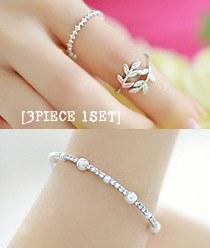 236788 - <BC224-HH11> [3Piece 1set] urban 3bell set ring & bracelet