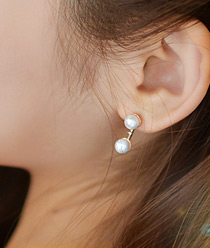 237128 - <ER536-DB18> [Silver Post] twin pearl earrings