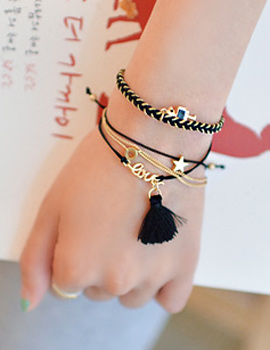 237155 - <BC254-HD10> [4Piece 1set] black robot bracelet