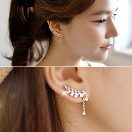 237194 - <ER543-S> [Silver Post] Unbalanced Leaf earrings