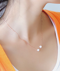 237233 - <NE149A-BF02> [It's okay, it's love JiHaesu] [Silver] double white pearl necklace