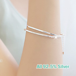 237279 - <BC265-A> [Silver] slim stick & ball bracelet