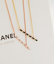 237333 - <NE154-BE07> luxury cubic bar necklace
