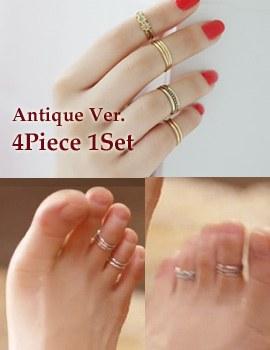 237397 - <RI315-S> [Same day shipping] [It's alright, it's love JiHaesu] [4Piece 1set] antique Haesoo toe ring