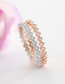 237545 - <RI319-AG15> slim diamond Patterns ring
