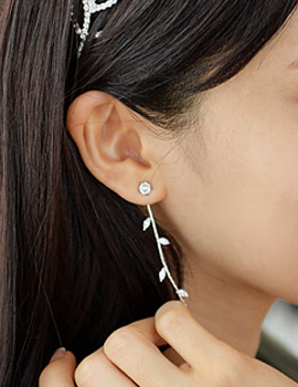 237590 - <ER553-DH13> [clip type] long Leaf earrings