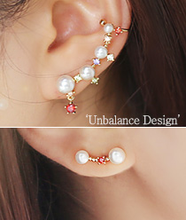 237867 - <EC103-CD17> [Silver Post] ravioli pearl ear cuff