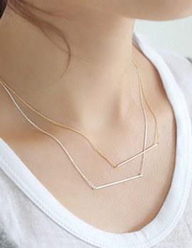 237871 - <NE165-S> [Immediate out of stock] [Silver] Ssl slim stick necklace