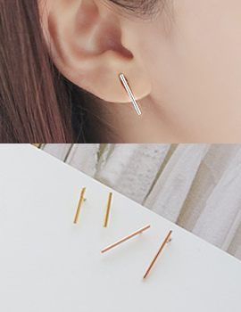 237872 - <ER597-IG05> [Silver] seconds slim stick earrings