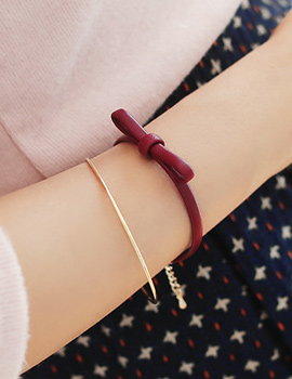 237875 - <BC282-S> [Same day delivery] ribbon leather bracelet