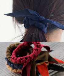 237977 - <HA317-FD04> [suede Ver. hairband bracelet for both] twist suede ponytail & bracelet