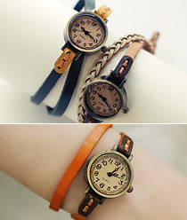 237980 - <WC074-BD12> vintage 2line Strap watches