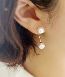 238033 - <ER612-GH04> [Silver Post] pearl holic earrings