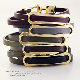 238086 - <BC293-HF14> plank leather bracelet