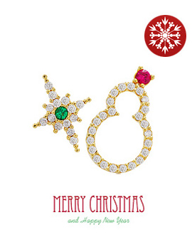 238107 - <ER622-S> [Sold Out Immediately] [Silver Post] Unbalanced Christmas earrings