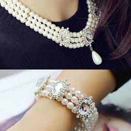 238108 - <JS139-IF09> [necklace + bracelet] pearl set