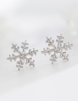 14452 - <ER199-DC23> [Silver Post] white Christmas earrings