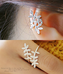 238135 - <JS141-BE07> [Earcuff & ring] [Silver] branch set