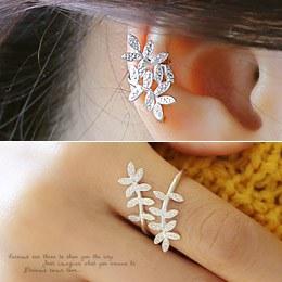 238135 - <JS141-BE07> [Earcuff & ring] [Silver] branch set