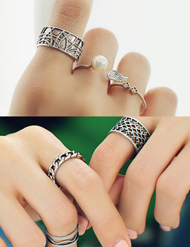 238139 - <RI360-JC07> [3Piece 1set] wing & wave vintage ring