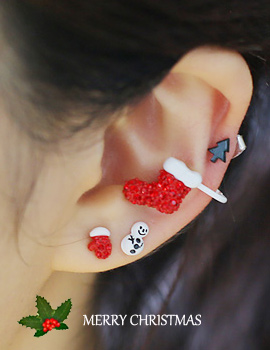 238140 - <EC110-S> [3Piece 1set] white Christmas ear cuff