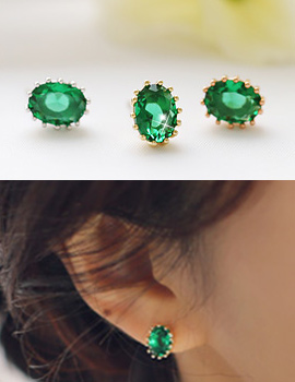 238148 - <ER624-GG02> [Birth of Beauty] Sarah green cubic earrings