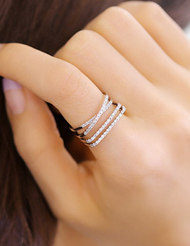 238160 - <RI363-JI02> [Birth of the Beauty] Sarah X multi line ring