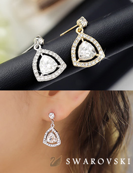 238205 - <ER632-GC02> [Sarah] Swarovski triangle drop earrings