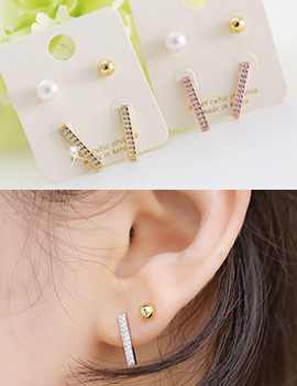 238213 - <ER636-GH10> [Birth of the Beauty] [Silver Post] Sarah stick & pearl 4set earrings